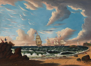 Thomas Chambers | Shipping off a Coast [Nahant, from Lynn Beach], c. 1843-50 | Oil on canvas, 22 x 30 in., 55.9 x 76.2 cm | Collection of Nahant Public Library, Nahant, MA