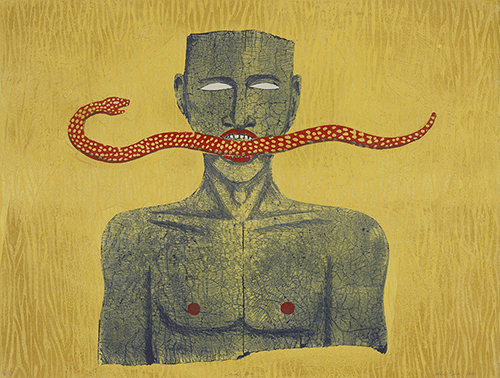Alison Saar, Snake Man, edition AP 3/4, 1994. Lithograph and woodcut; 28 x 37 in.