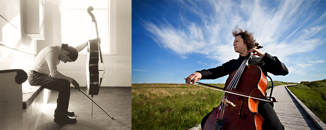 Left to right: Haimovitz sitting on the left of the composition, holding a bow in one hand and instrument in the other while bent over and looking down at the ground. Haimovitz in a grassy area with a cloudy, blue sky above, looking off into the distance (facing left), and playing the instrument.