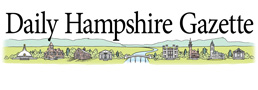 Daily Hampshire Gazette Logo some local buildings too small to recognize on a green field with mountains in the back