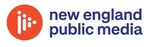 New England Public Media logo. Small orange circle with white play symbol in center, next to navy blue words.